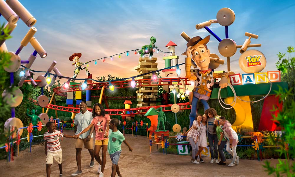 Front View Of Toy Story Land ©Disney ©Disney/Pixar ©Hasbro, Inc. All Right Reserved. Jenga® Pokonobe Associated. All Rights Reserved