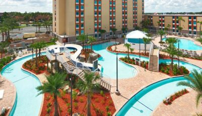 Hotel Red Lion: Arial Pool View Of Lazy River, Slide, And Second Pool